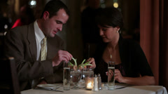 Couple at restaurant Stock Footage