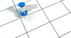 thumbtack with blank label on generic calendar - stock illustration