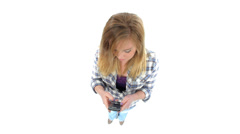 Girl texting with cell phone - stock footage