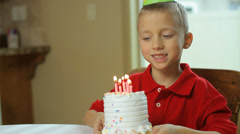 Young boy on his birthday Stock Footage