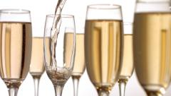 Pouring Champagne, slow motion - stock footage
