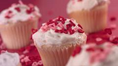 Valentine's Day cupcakes,  slow motion Stock Footage