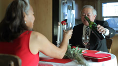 Valentine's Day dinner, senior couple - stock footage