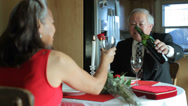 Stock Video Footage of Valentine's Day dinner, senior couple