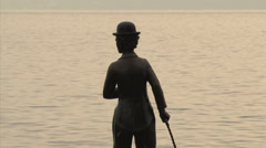 SWITZERLAND Vevey Charlie Chaplin statue Stock Footage