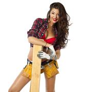 sexy carpenter - stock photo