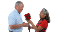 Stock Video Footage of Elderly Asian couple with rose against white background