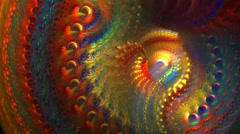 Abstract multicolored finely detailed spiral background seamless looping fractal Stock Footage