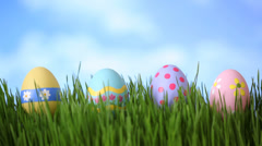 Easter eggs in grass, time lapse Stock Footage