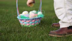 Easter egg hunt, closeup Stock Footage