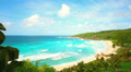 Idyllic Shore Beach With Turquoise Water And White Sand Footage