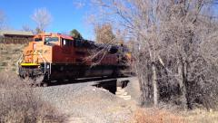 Coal train appears from behind trees in Colorado Springs, CO Stock Footage