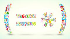 Math operands, colored vector font from numbers Stock Illustration