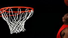 Basketball slam dunk, slow motion Stock Footage