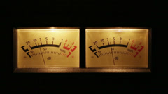 Stereo decibel meters with backlit - part of sound equipment Stock Footage