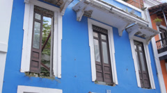 Colorful hispanic colonial era houses in ruins Stock Footage