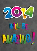 Creative Abstract New Year 2014 Card - stock illustration
