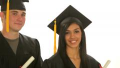 Graduating Students against white background - stock footage