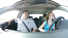 Father frightened by daughters driving Stock Footage