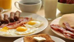 Breakfast foods, dolly movement - stock footage