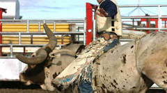 Bull riding, slow motion - stock footage
