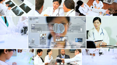 CG video montage Asian scientist using technology for future Stock Footage