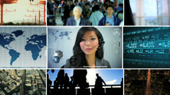 3D video montage Asian business travel managers technology Stock Footage