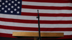 American flag and podium Stock Footage