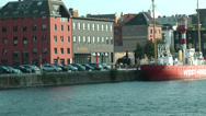 Stock Video Footage of Buildings Along River in Antwerp, Belgium