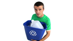 Man with recycle bin against white background - stock footage