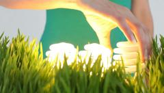 Light bulbs in grass patch - stock footage