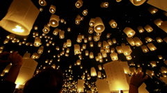 Stock Video Footage of Loi Krathong Festival, Floating Lantern Being Released in Chiang Mai, Thailand