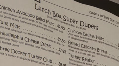 Small town diner menu Stock Footage