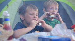 Two young boys eat smores at campground - stock footage