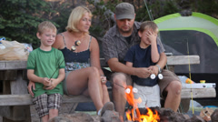 Family camping - stock footage