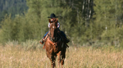 Young cowboy riding horse, slow motion Stock Footage