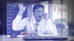 Stock Video Footage of Stock market meltdown. Falling markets mean that financial trader is having a