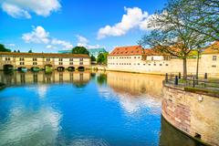 strasbourg, barrage vauban and medieval bridge ponts couverts. alsace, france - stock photo