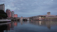 Downtown Tampa waterside at dusk Stock Footage
