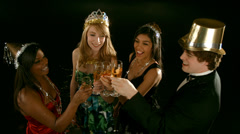 Young people celebrating New Year's Eve Stock Footage