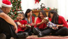 Hispanic family together at Christmas Stock Footage