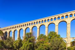 roquefavour historic old aqueduct landmark in provence, france. - stock photo
