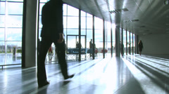 Business group in a large contemporary office building. High quality HD video Stock Footage