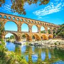 Stock Photo of roman aqueduct pont du gard, unesco site.languedoc, france.