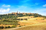 Stock Photo of tuscany, pienza medieval village. siena, val d orcia, italy