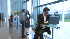 Time lapse modern business office as people rush past camera. Businessman and - stock footage