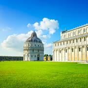 Pisa, miracle square. bapstistry and cathedral duomo. tuscany, italy Stock Photos
