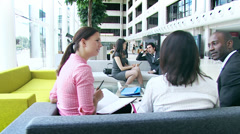Track and Dolly HD video. Multi ethnic young professionals in a meeting area of Stock Footage
