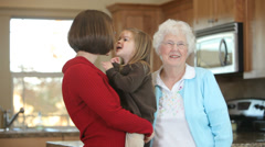 Portrait of Granmother, granddaughter and great grand daughter Stock Footage
