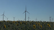 Stock Video Footage of Turbine ecology windmill sunflower sun flower field system resource alternative